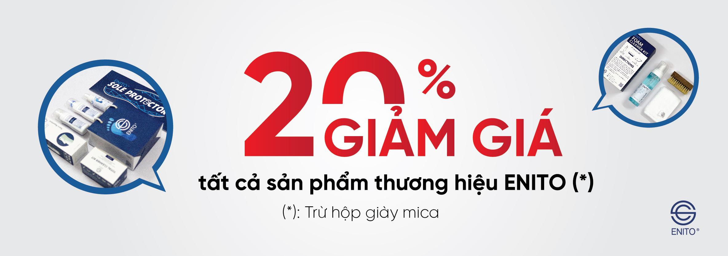 Giảm giá 20% tất cả sản phẩm làm sạch giày